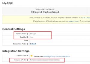 PagerDuty Integration API settings