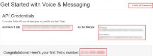 Twillio Account Settings - SMS notifications