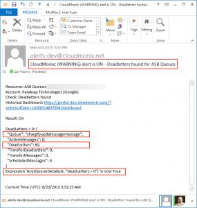 Netreo alert for ASB queue deadletters