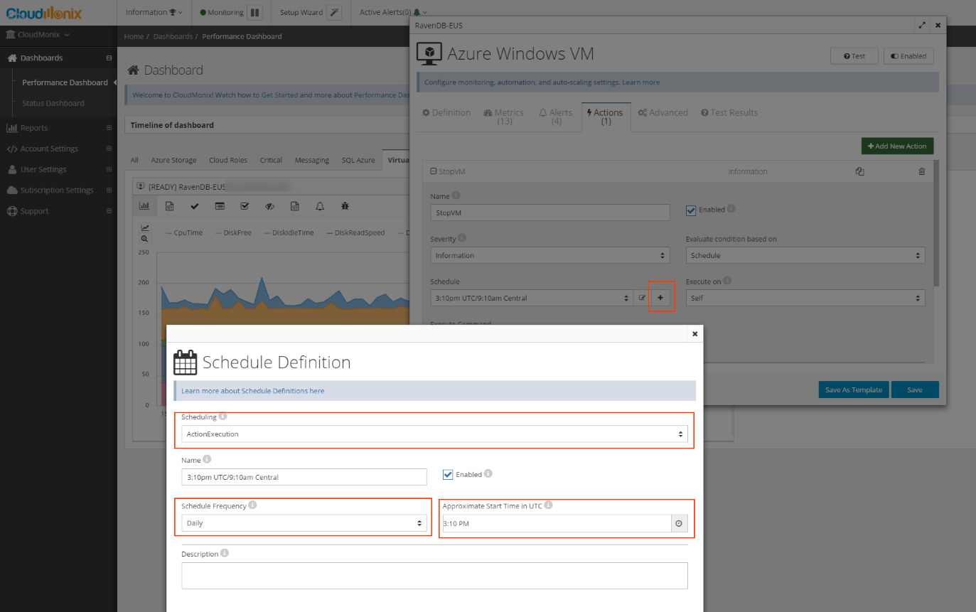 scaling/resizing of Azure - Defining the start time for action to execute on