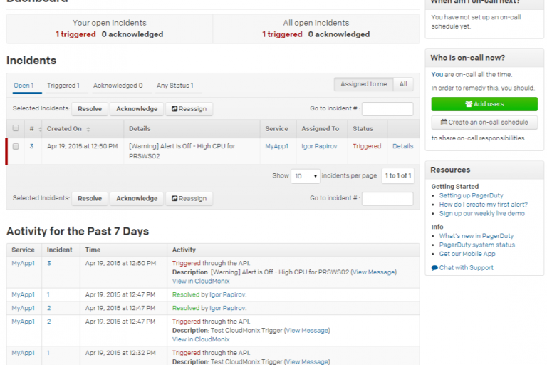 Netreo Essentials alerts in PagerDuty