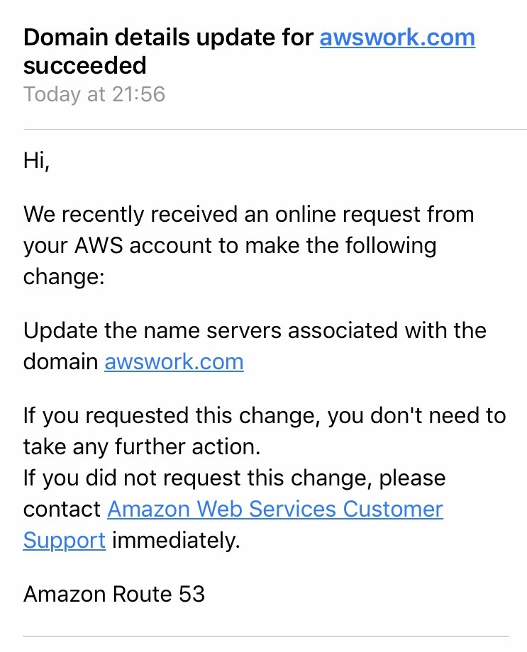 How to delegate a DNS Domain from AWS to Azure - Confirmation email