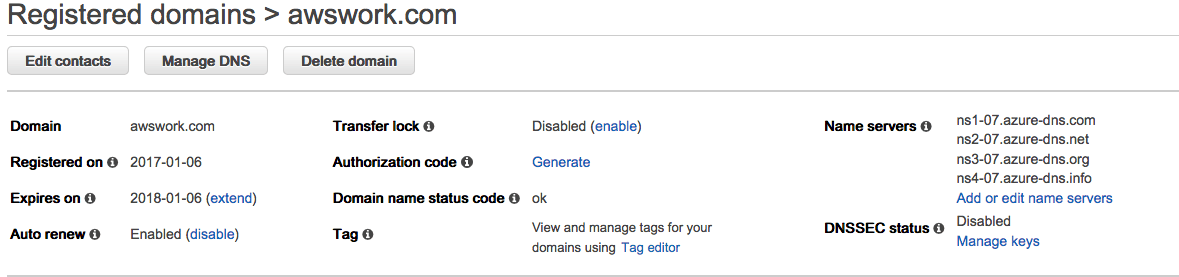 How to delegate a DNS Domain from AWS to Azure - Name Servers will show the Azure name servers