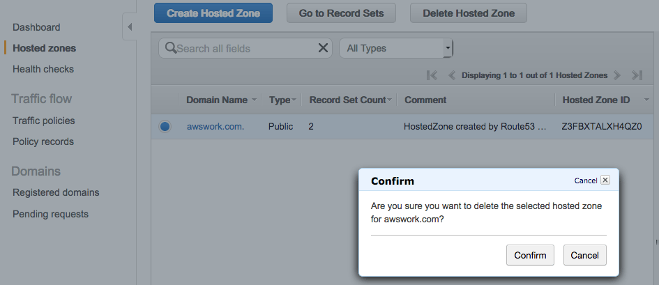 How to delegate a DNS Domain from AWS to Azure - Delete the hosted zone