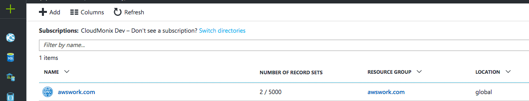 How to delegate a DNS Domain from AWS to Azure - DNS zone was created and two default record sets