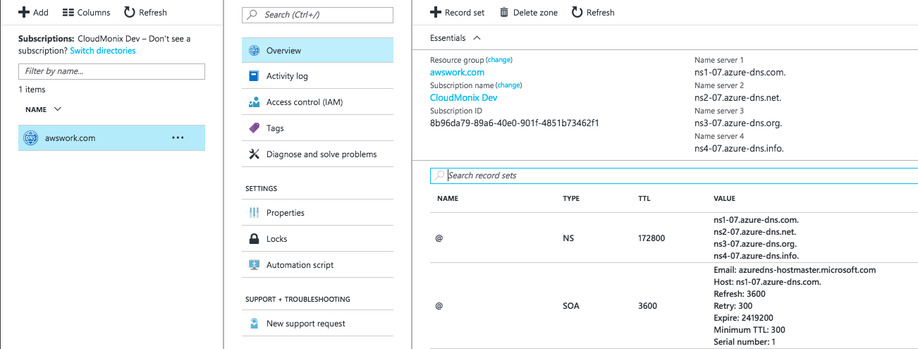 How to delegate a DNS Domain from AWS to Azure - Azure DNS update the information on Route 53 registrar