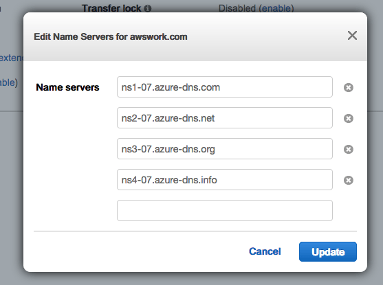 How to delegate a DNS Domain from AWS to Azure - edit the Name Servers section to use the Name Servers provided by Azure