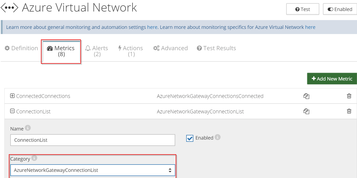 Monitor connectivity - How to monitor Azure Virtual Network Gateways using Netreo