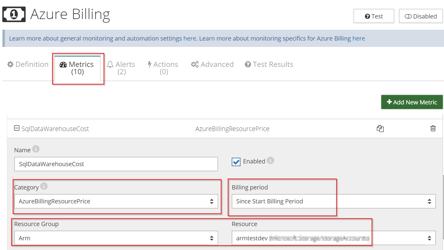 tracking SQL Azure Data Warehouse costs
