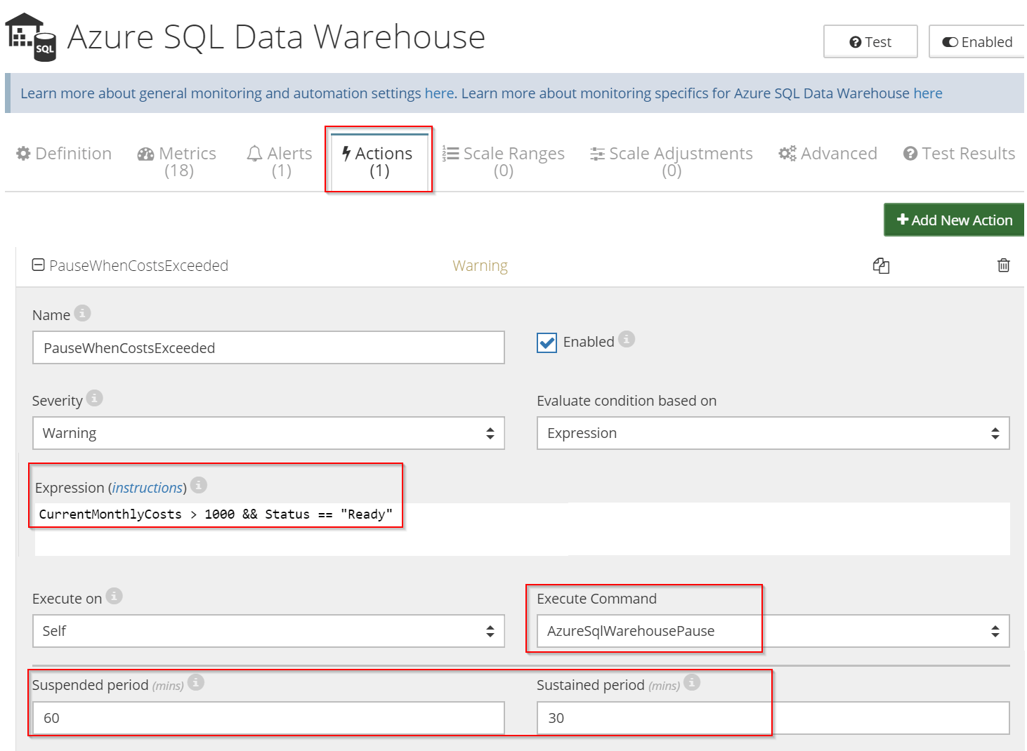 Pause SQL Data Warehouse when costs exceed the threshold - 2