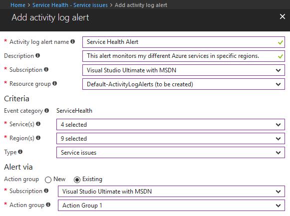 Activity log alert - Get Notified Of Azure Service Incidents