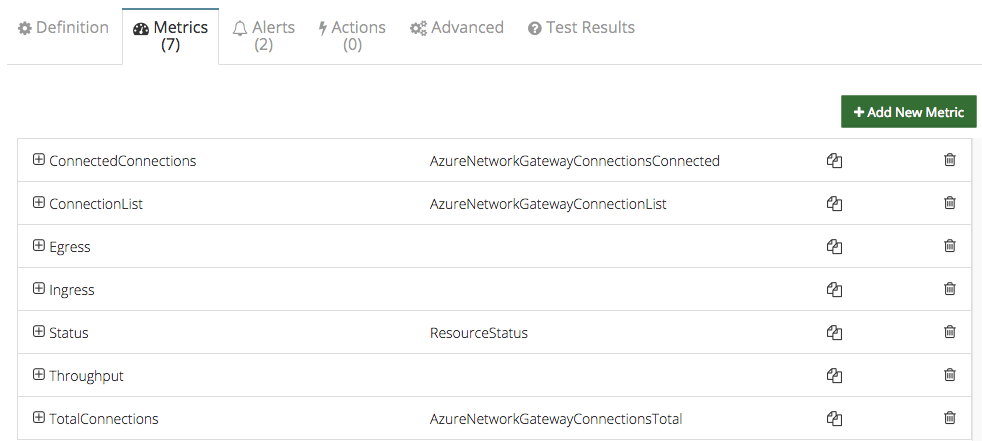 Azure virtual network monitoring metrics