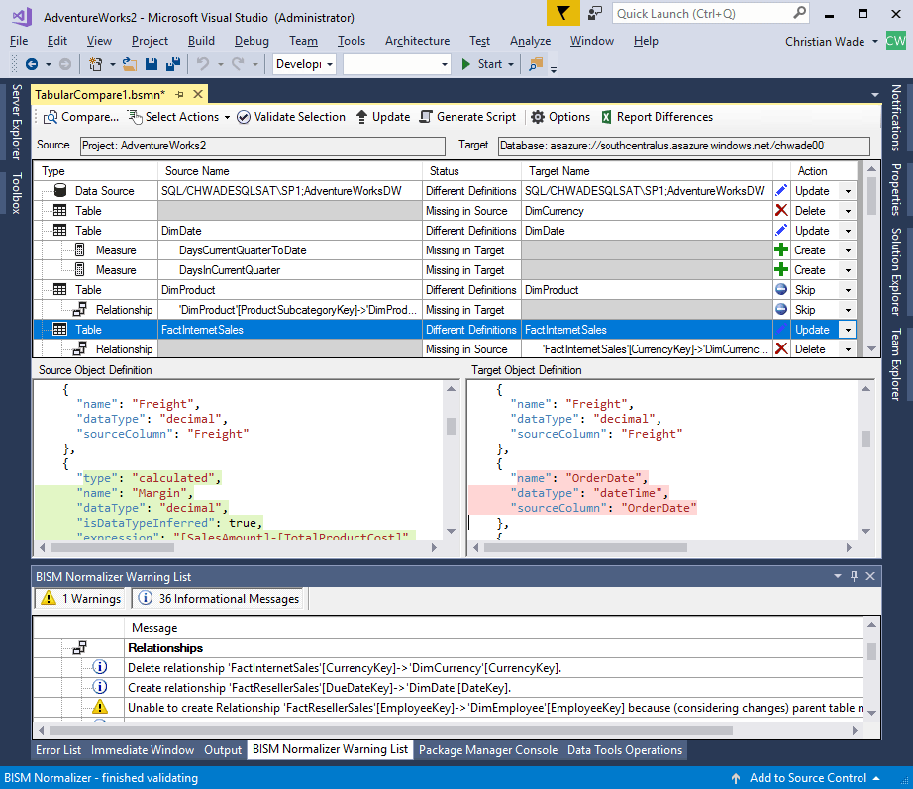 Model Comparison for Azure Analysis Services - Azure Monitoring Tool