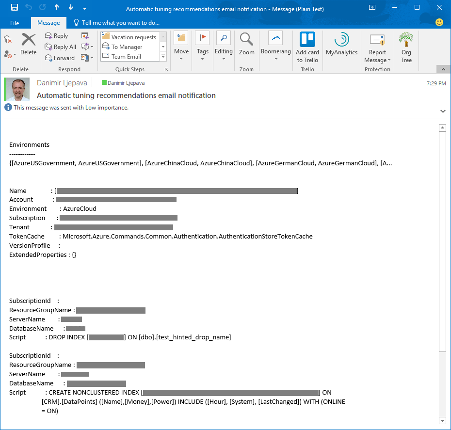 Notification sample of Azure Automation emal