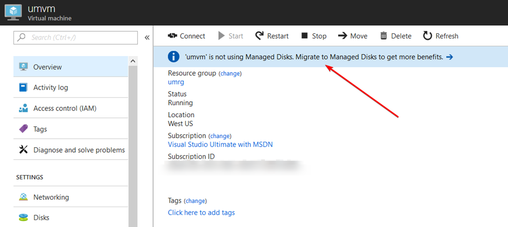 overview-pane - Migrate To Managed Disks In The Azure Portal