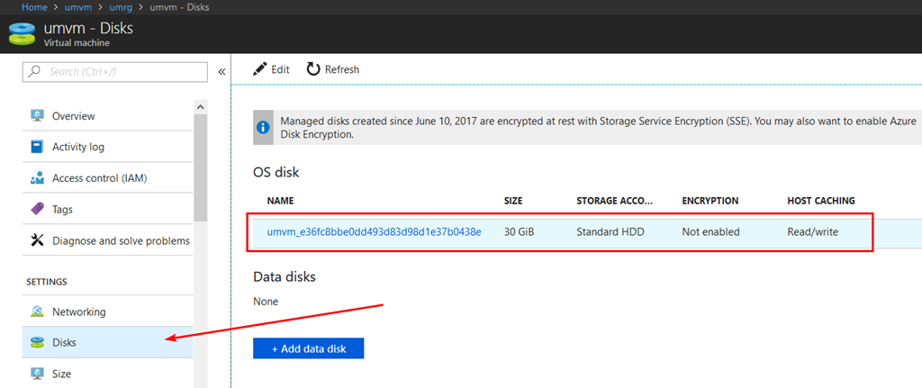 Additional details about the disks of the VM are availableon theDisks