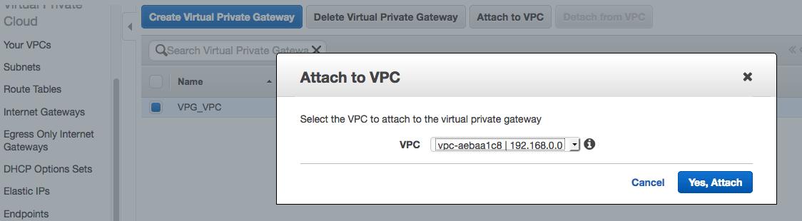 Attach VPC
