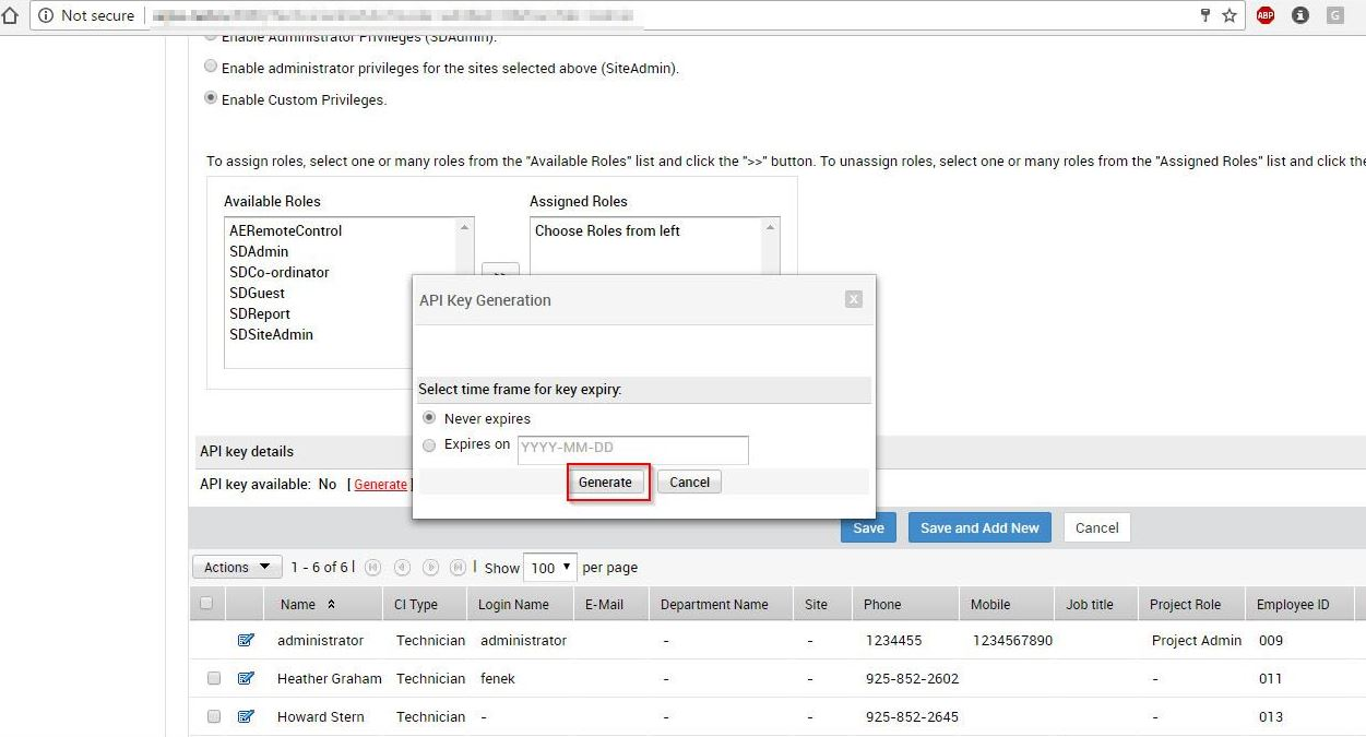 Generate a new API key in ManageEngine - Netreo Network Monitoring Tool