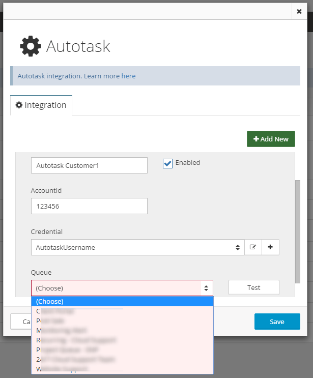 Netreo notifications in Autotask