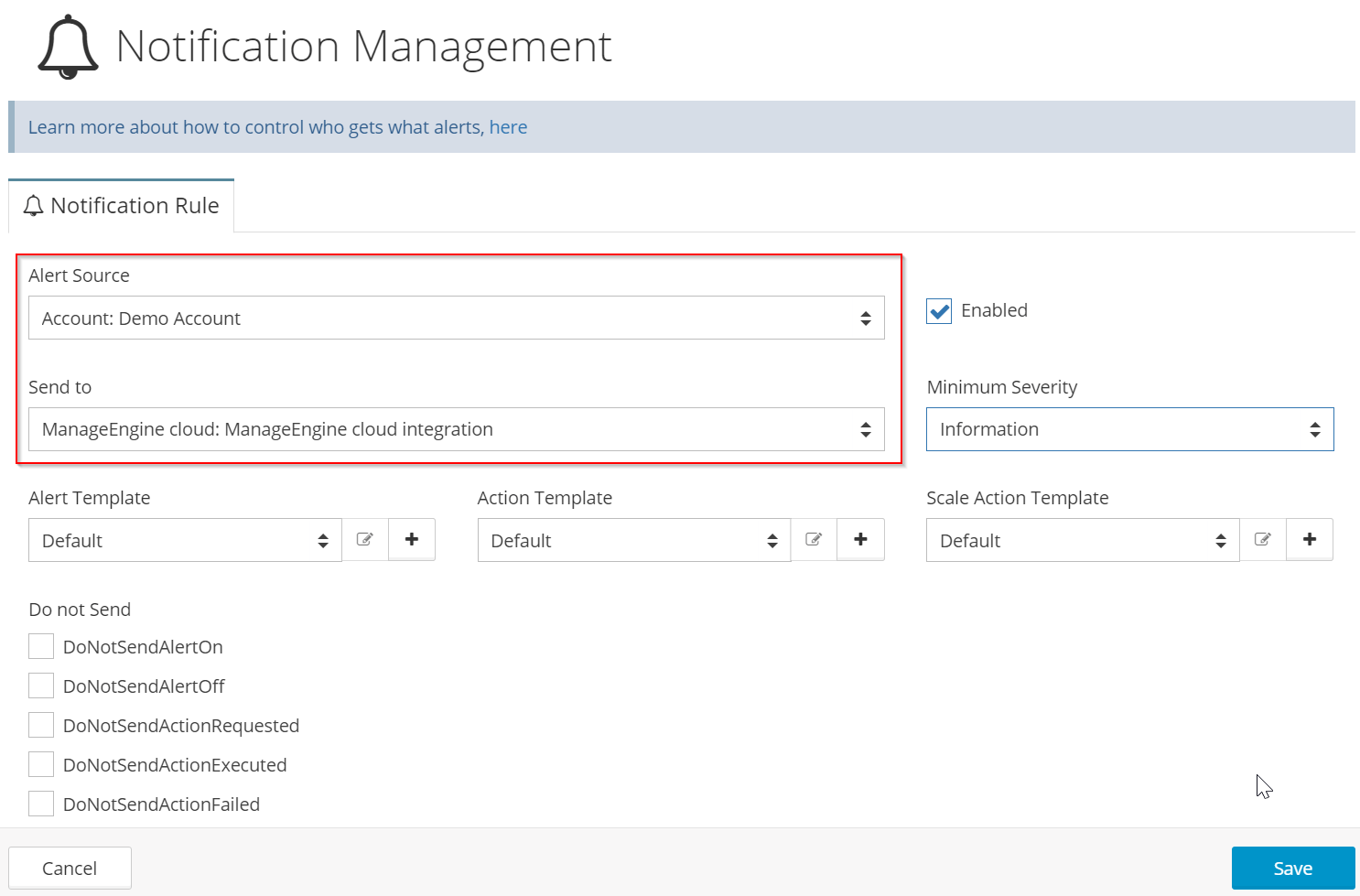 Specify what notifications should be sent to ManageEngine