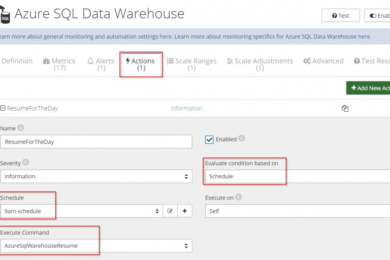 Azure SQL Data Warehouse - Resume Action