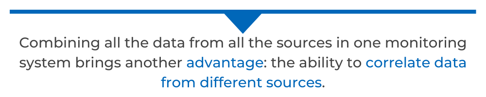 Combining all the data from all the sources in one monitoring system brings another advantage: the ability to correlate data from different sources.
