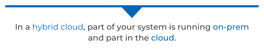 In a hybrid cloud, part of your system is running on-prem and part in the cloud.