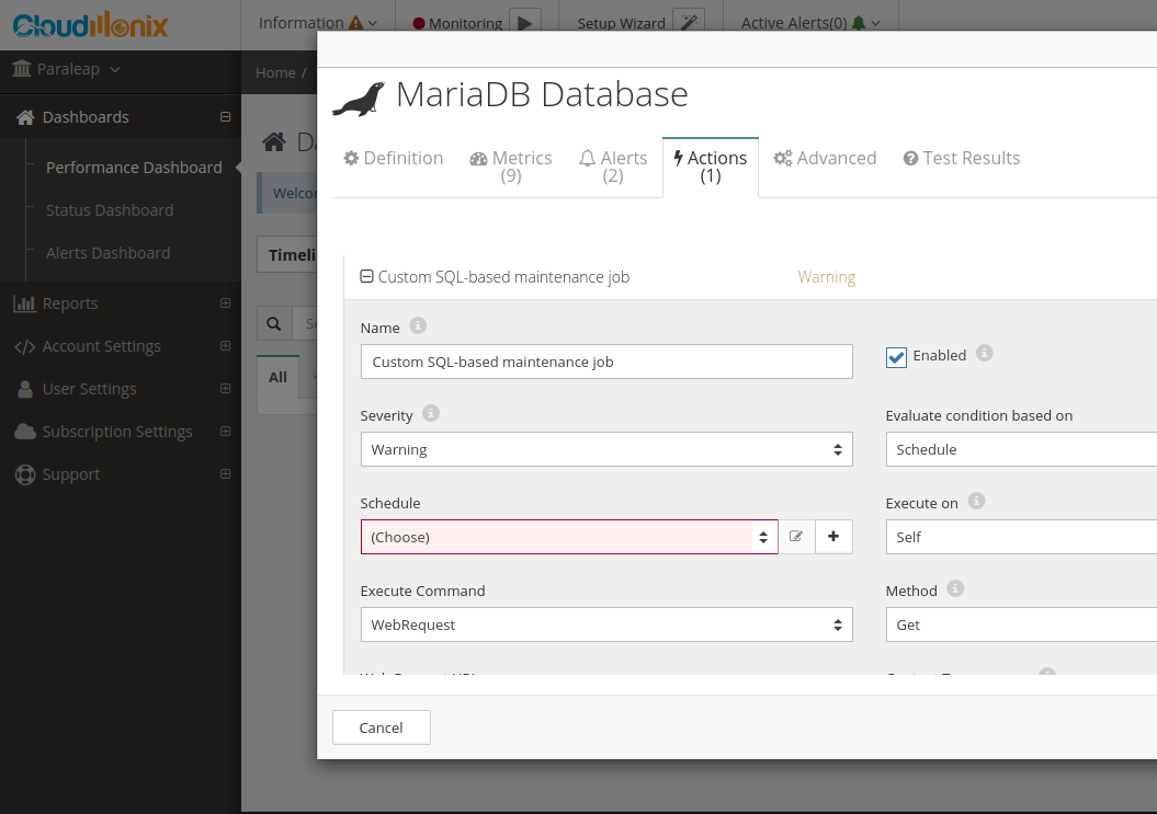 MariaDB Databases Manager & Automation - Dashboard