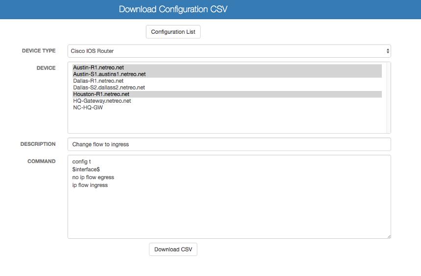 Push Device Configuration Changes - Download Configuration CSV